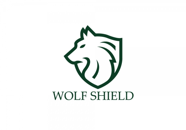 wolf shield premium logo design for sale logostack